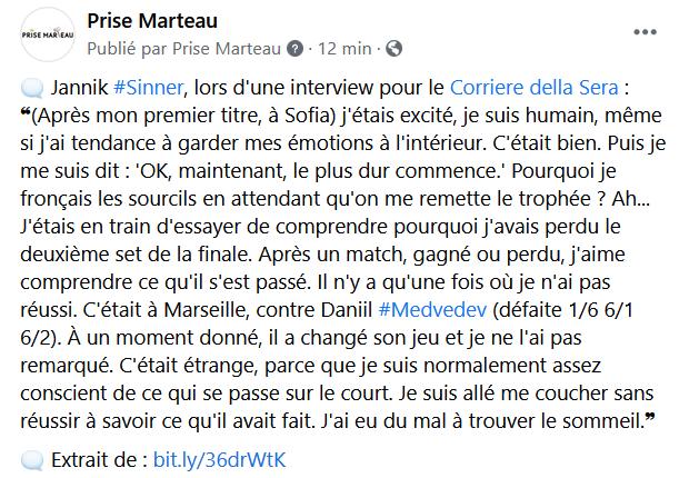 🗨️ Jannik Sinner, pour le @Corriere : ❝ Après un match, gagné ou perdu, j'aime comprendre ce qu'il s'est passé. Il n'y a qu'une fois où je n'ai pas réussi. C'était à Marseille, contre Daniil Medvedev. (...) Je suis allé me coucher sans trouver. J'ai eu du mal à dormir.❞ #Tennis https://t.co/lMc9MRhYUF