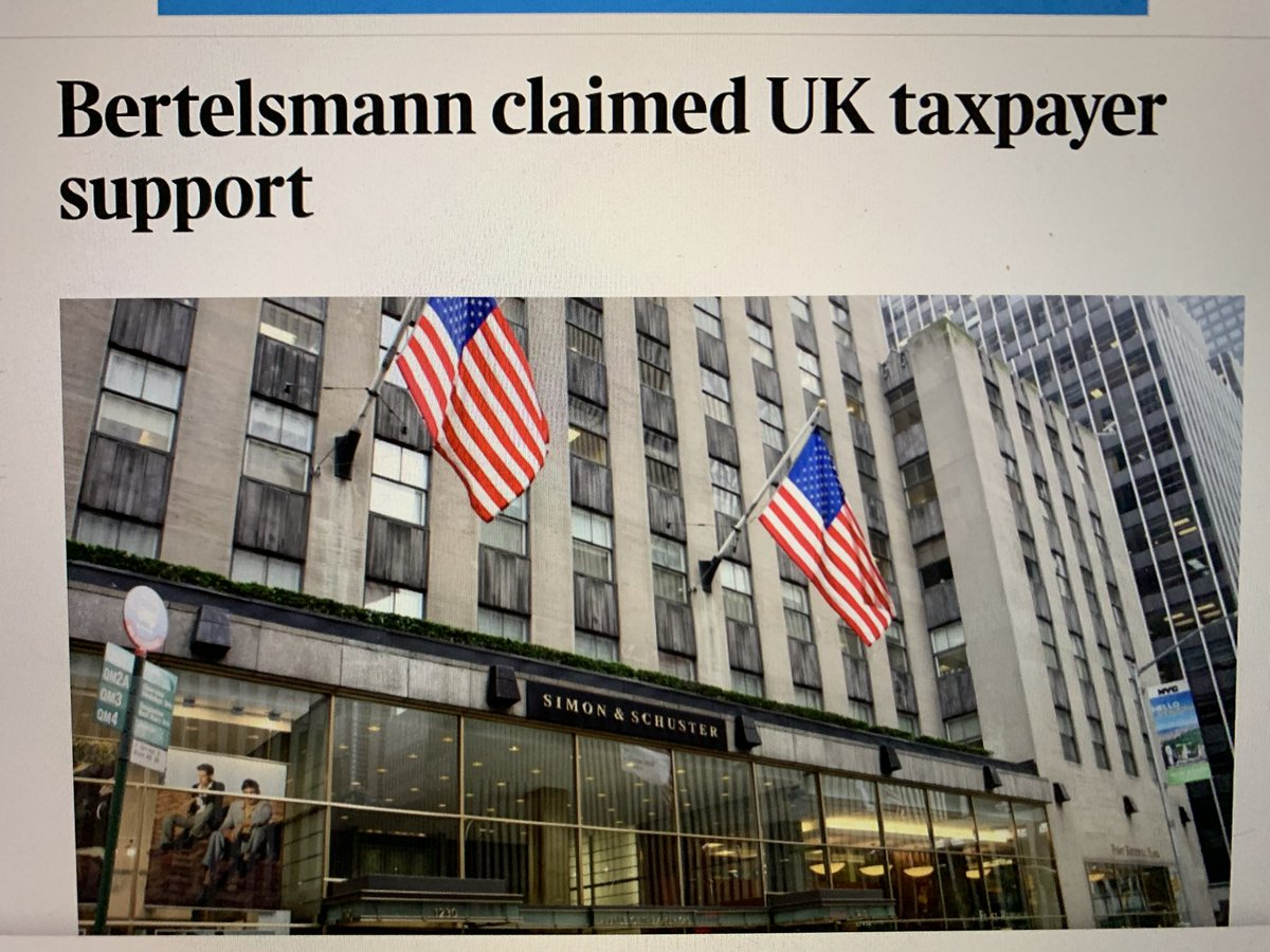 German book publisher had $2.2 billion for #Simon&Schuster but took UK taxpayer money, writes @TheTimes of London