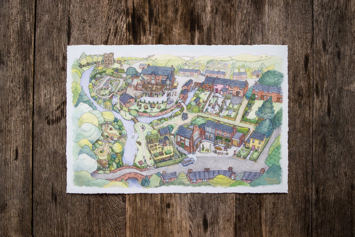 📍 Also, our friends at @iam8bit are making an incredible art print of @GhostTownGoldie's painting of the village. The textured paper and rough edges make it feel like your own personal Untitled Goose Game watercolor. Only $50 at