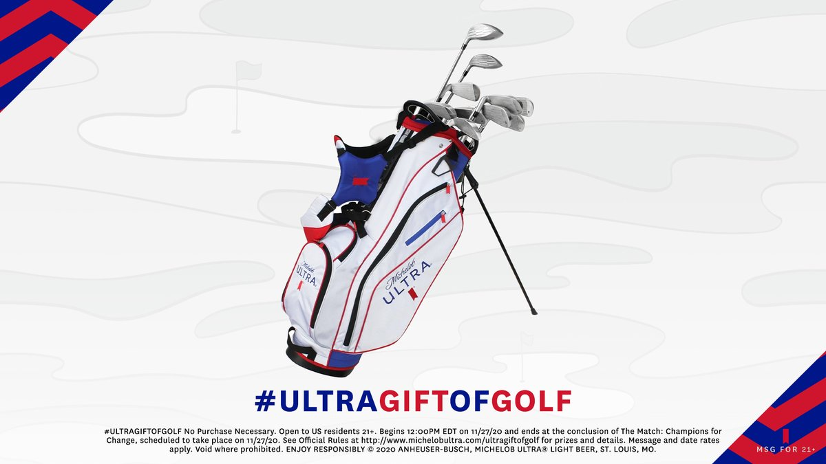 Need clubs? Of course you do. We're giving away a bag and a set of clubs for every birdie scored during #TheMatch. Reply with #ULTRAGiftofGolf and #Sweepstakes to enter to win.