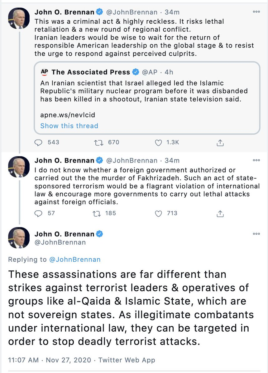 During the Obama admin, 4 Iranian nuclear scientists were killed and one was nearly killed  While the Obama admin (of which Brennan was a part of) denied US involvement & condemned violence, language like this was never used  @JohnBrennan should weigh in on those killings as well https://t.co/vI3fx8qjSj