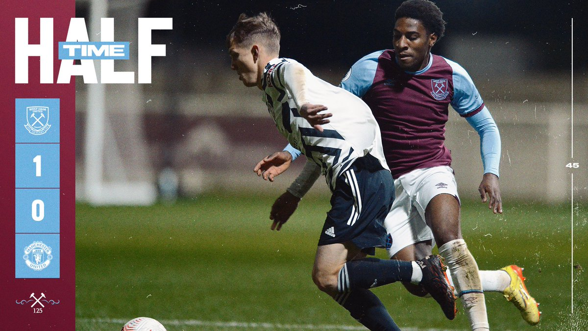 Half-time at Rush Green.  The Hammers have the lead through Afolayan's far-post tap-in.  A big second 45 ahead! ⚒️  #PL2 #COYI