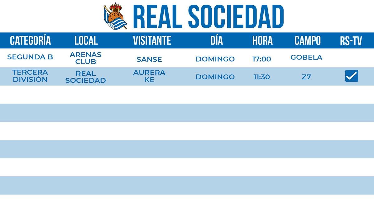 ⚽ Cartelera de partidos del fin de semana   #Zubieta #AurreraReala