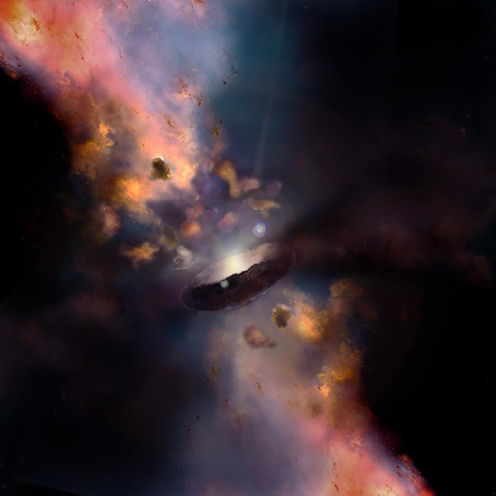 For black holes, it's always a cloudy day ☁️  Black holes don't always devour everything that gets too close. Nearby gas is sometimes flung away, creating cosmic clouds. Learn more this #BlackHoleFriday: https://t.co/EDlf7oKbNX https://t.co/uURy1B7mxA