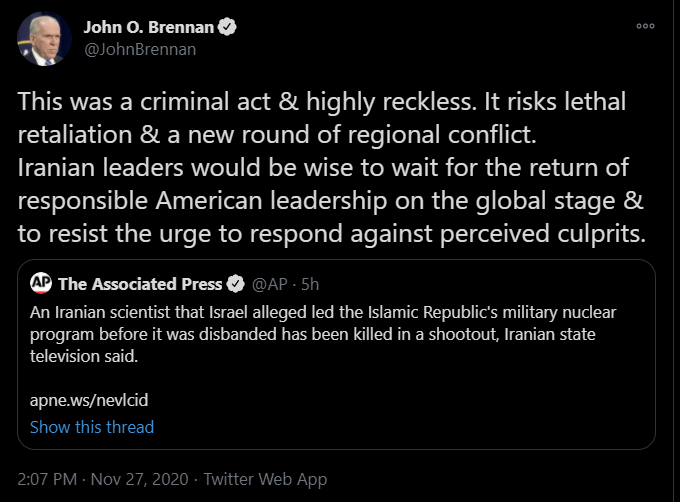 Some enterprising journalist should ask John Brennan if this tweet constitutes a Logan Act violation by John Brennan according to the standards articulated over the last four years by John Brennan. https://t.co/N3aLFHXcCB
