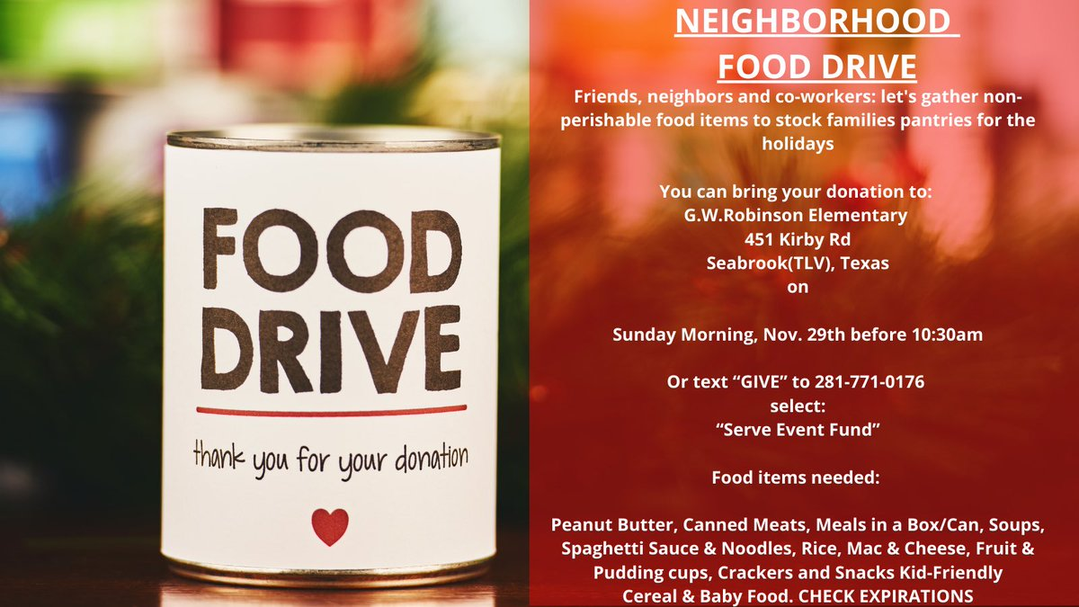 """We are in full swing with our 5th Sunday """"SERVE"""" event.  Spread the word!     #seabrooktx #fooddrive #SundayMorning #church"""