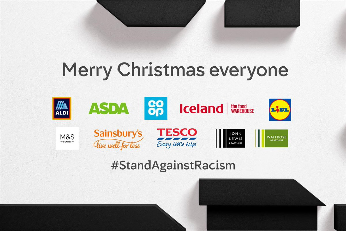 We standtogether with our friends and partners at@AldiUK@asda@coopuk @IcelandFoods@LidlGB @marksandspencer@sainsburys@Tesco @jlandpartners@waitroseand @Channel4 as they#StandAgainstRacism