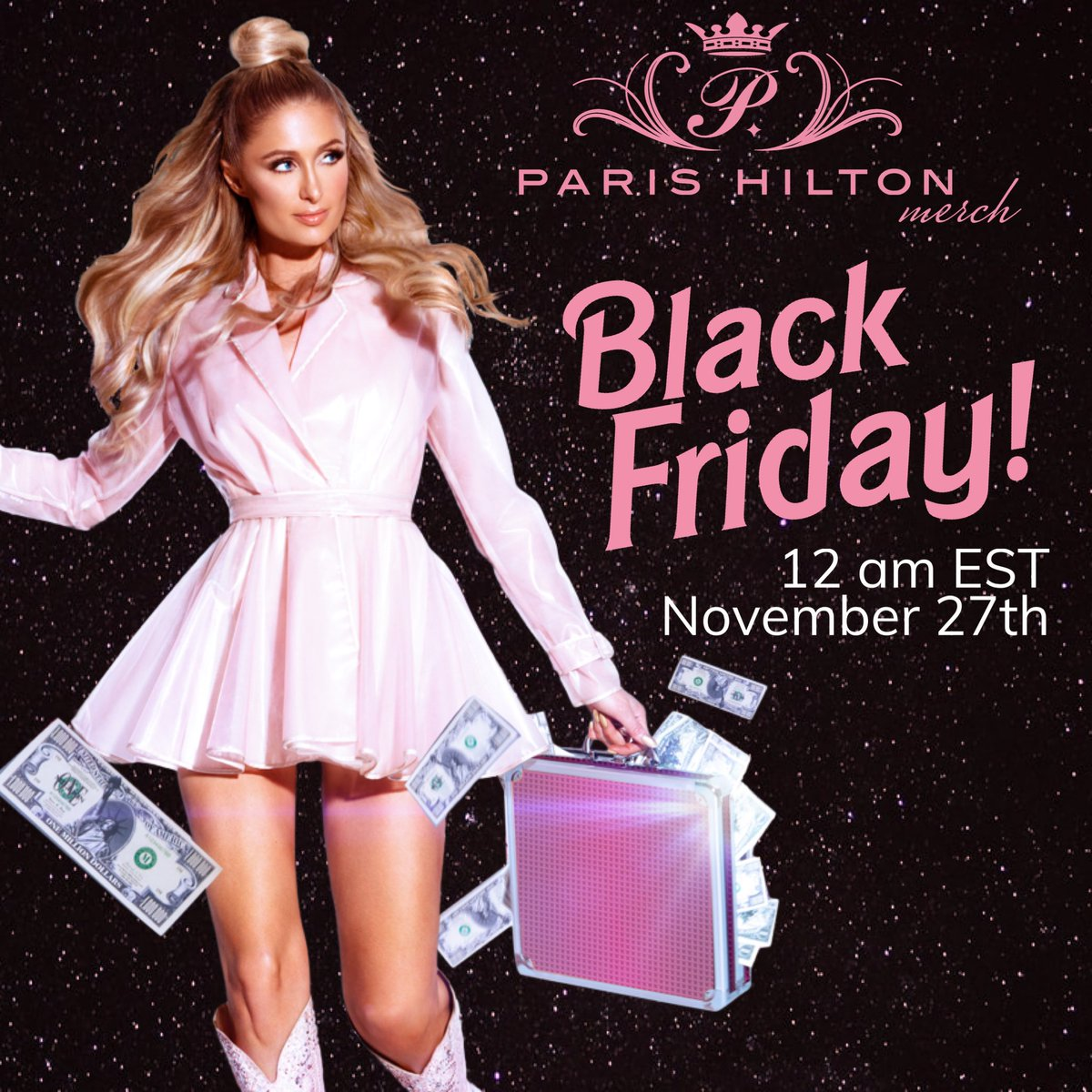 My Black Friday Mystery Pack is available now at !💕 These items are exclusive to this #BlackFriday Special and can only be purchased in the mystery pack from now until 12 AM PST 11/28. Get yours today 💖 #ParisHiltonMerch