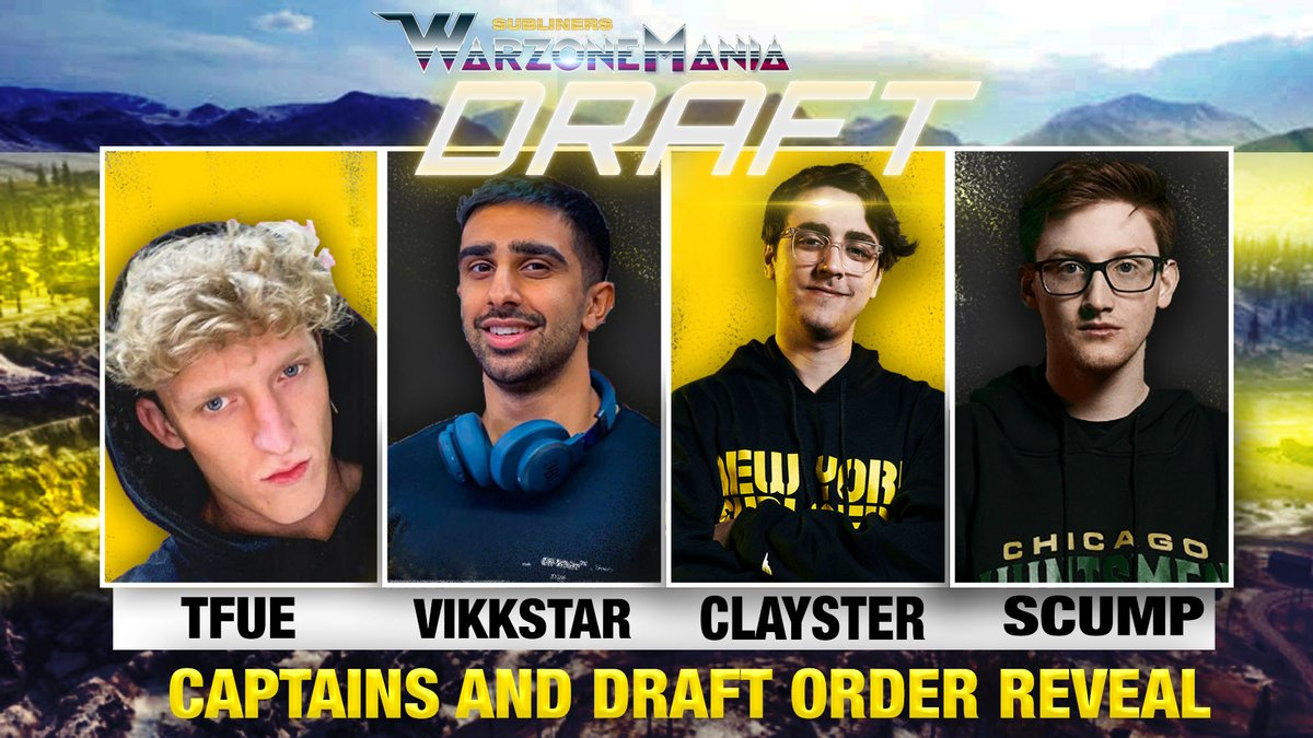 New York Subliners - The NYSL $100K WarzoneMania Draft order is SET.  Come join @MLGPuckett, @NAMELESS, @JGODYT, and @Boble as they reveal the draft order and give their expert analysis on all the team captains. Who will get the first pick in the draft? Find out now.