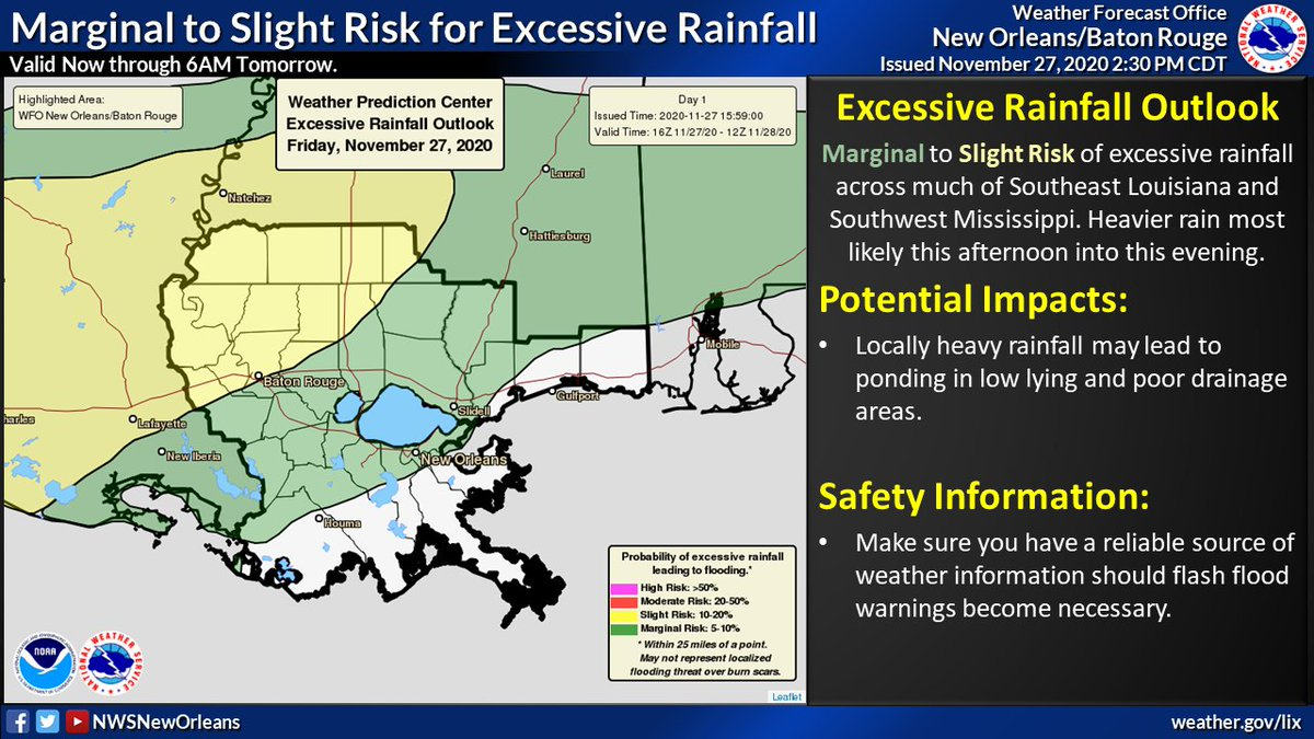 Latest info on heavy rain threat through the weekend.  Marginal to slight risk of heavy rainfall that could lead to flooding issues continues through Sunday morning.  First round now through this evening, and another round Saturday night into Sunday morning.  #lawx #mswx https://t.co/cZ2LfKmZCb