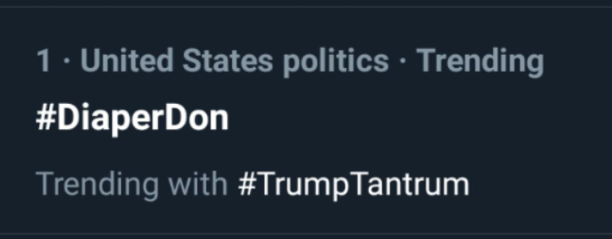 I love that this still trending #1! #DiaperDon is no dapper don.