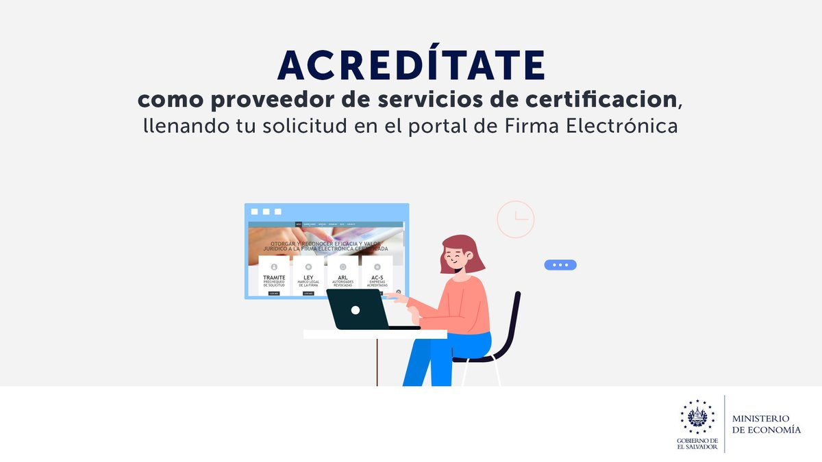 ¡Sé parte de la trasformación de El Salvador en una #NaciónDigital! Solicita ya tu acreditación como empresa proveedora de servicios de certificación de #FirmaElectrónica.  Ingresa a este enlace https://t.co/ikPqS5eFrY. https://t.co/pTffGl5IL0