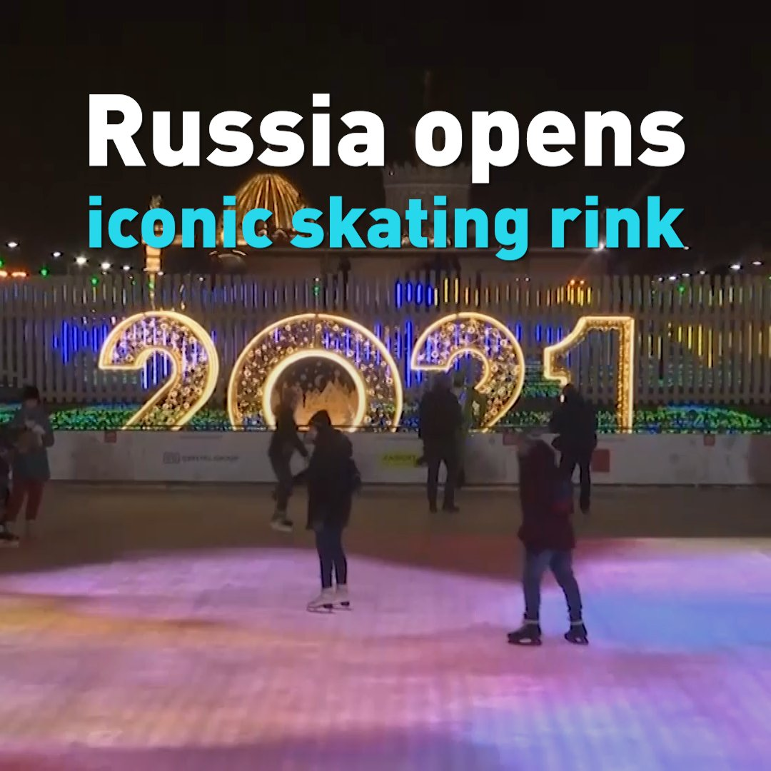 Russia's iconic skating rink in Moscow opened on Friday. As the country battles high cases of new COVID-19 infections, entry to the rink is timed and limited.  #russia #iceskating⛸ #moscow #winter #covid_19