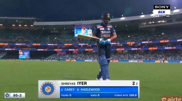 #ShreyasIyer bad form continued from the last few games of #IPL2020 ,  just didn't look the champion batsmen who hits towering 6s n paces innings for #delhicapitals in the start of #iplseason13 , isn't timing the ball well for sometime   #INDvAUS #AUSvIND #INDvsAUS #AUSvsIND