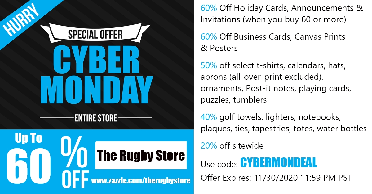🎁Cyber Monday Sale | Up To 60% Off In The Rugby Store | Use code: CYBERMONDEAL | Ends 11/30/2020 11:59 PM PST  #CyberMonday #Cybermonday2020 #deals #Sales #shopping #rugby #rugbyunion #sports