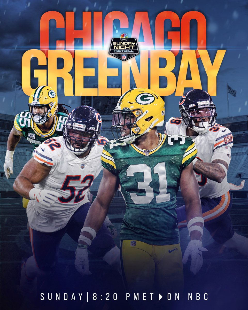 NFC North showdown on #SNF 😤  #DaBears | #GoPackGo   📺: #CHIvsGB -- Sunday 8:20pm ET on NBC 📱: NFL app // Yahoo Sports app