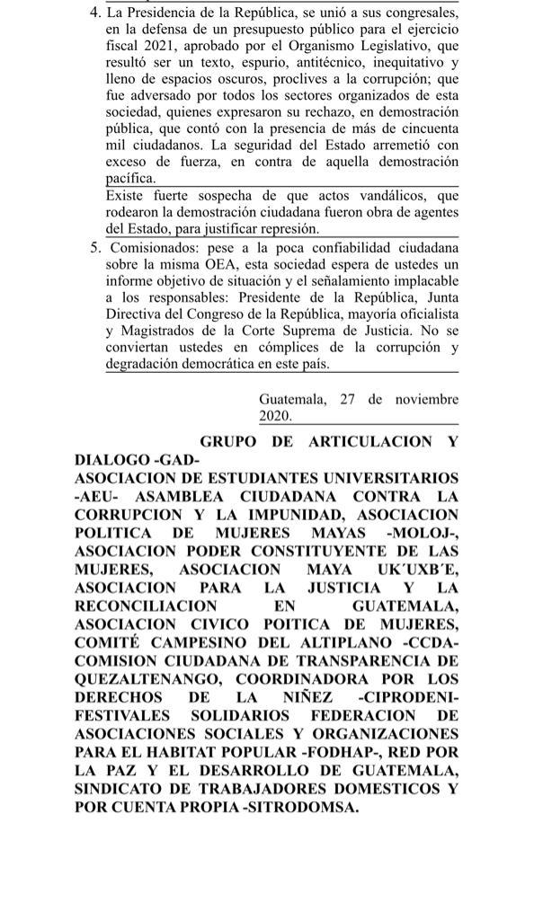 test Twitter Media - Distintas organizaciones se pronunciaron por la misión de la OEA que fue enviado al país a petición del Presidente Alejandro Giammattei, por la crisis política. https://t.co/w63m3FCvdL