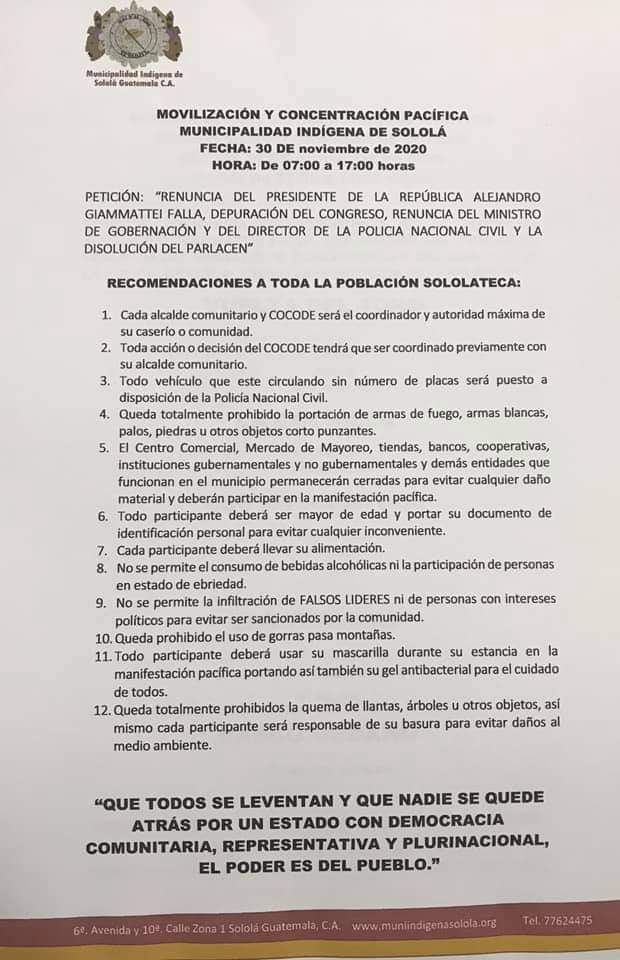 test Twitter Media - Municipalidad Indígena de Sololá anuncia movilización y concentración pacífica para el lunes 30 de noviembre, con el fin de pedir la renuncia del presidente de la República, Alejandro Giammattei. https://t.co/LtsdHRNOyD