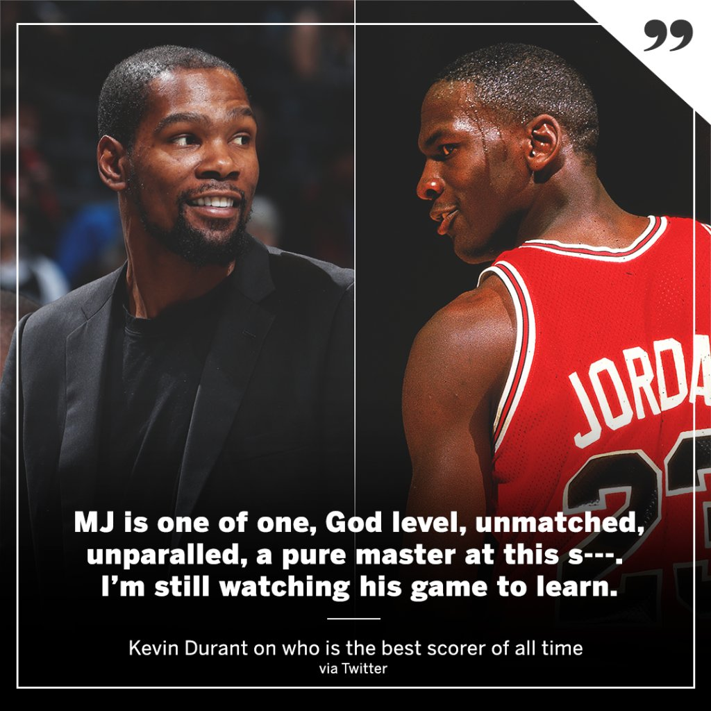 Kevin Durant says MJ's scoring ability is unmatched. (via @KDTrey5)