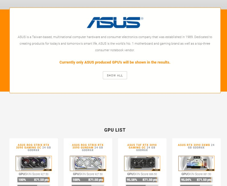 All ASUS cards are now added to the GPUSKIN GPU Database, go check them out at: https://t.co/5dcBeMHJl3 Lot's more to come! #staytuned #ASUS #nvidia #amd #teamred @ASUS https://t.co/PXD5A7Z8DR