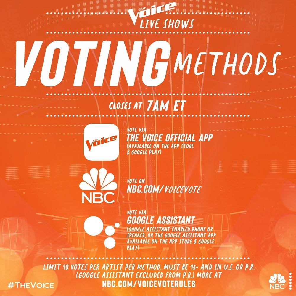 Here finally is the exact voting info for the show. On Monday at 8pm eastern you will be able to add 10 votes for me in three different ways for a total of 30 votes!  Please make the tiny effort and help me with all 30 votes!!!