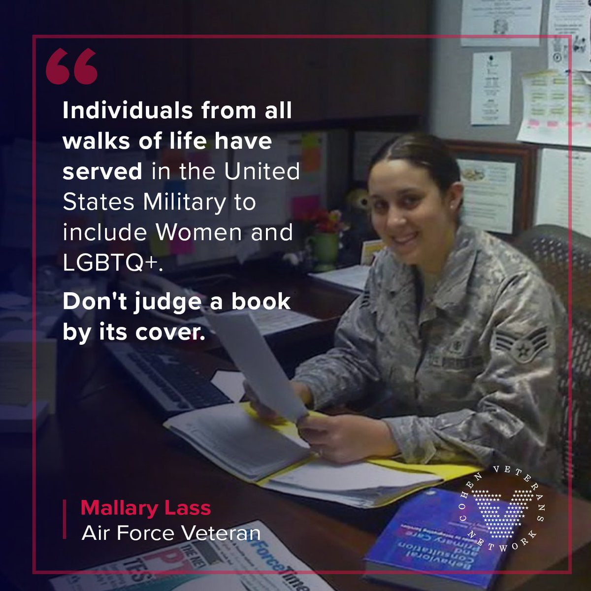 """""""How can you show appreciation for those who served?   Recognize ALL veterans. Mallary, Air Force veteran and Outreach Manager for our Cohen Clinic at Easterseals, reminds us that veterans come from all walks of life.   #VeteransDay #BeyondTheThankYou"""""""