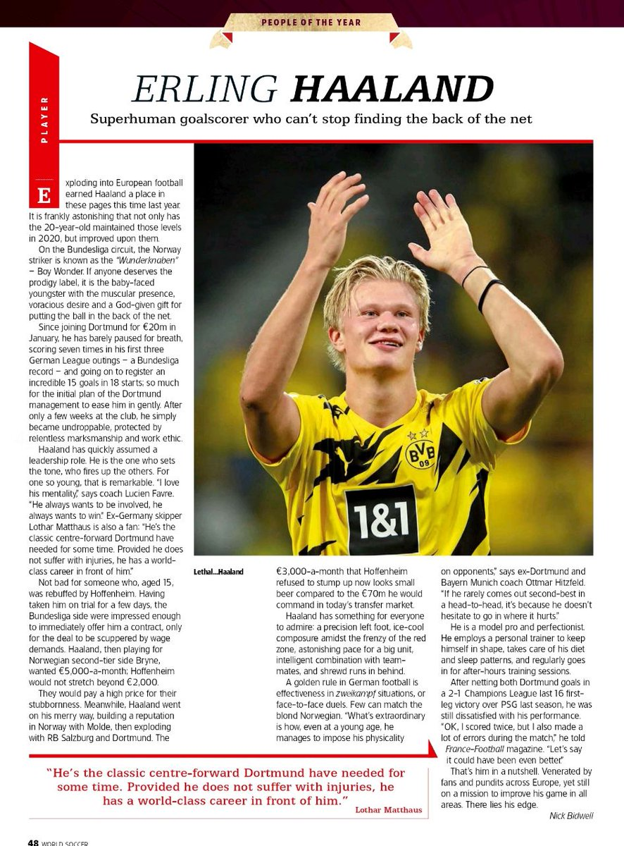 Haaland, the boy who can knock out messi and cr7 from the top scorers in #UCL  Player of the year for #worldsoccer