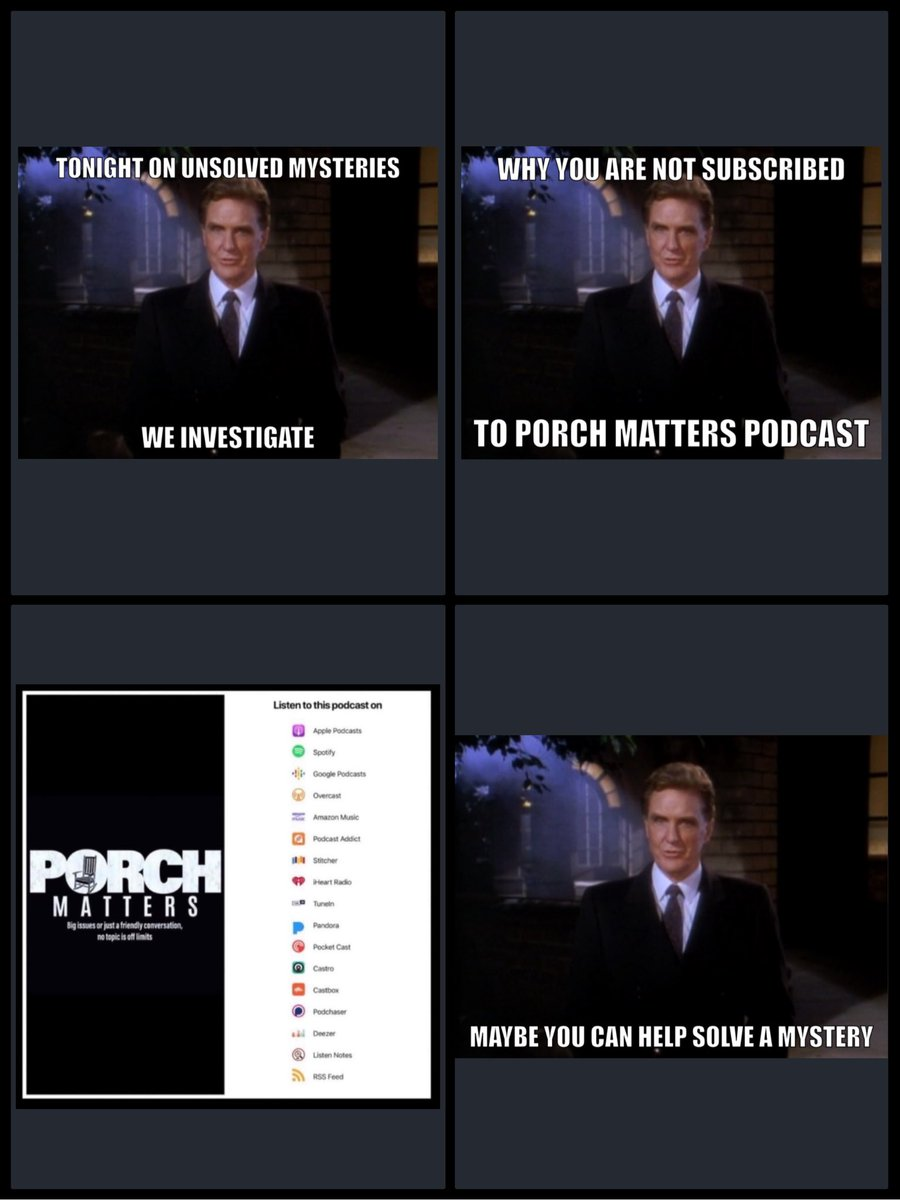 Are you subscribed? #porchmatters #applepodcasts #Spotify #googlepodcasts #iHeartRadio #amazonmusic #pandorapodcast #stitcherpodcast #podcastaddict #podchaser #castbox #castropodcast #radiopublic #playerfm #TuneinRadio https://t.co/ngrHcKBLw0