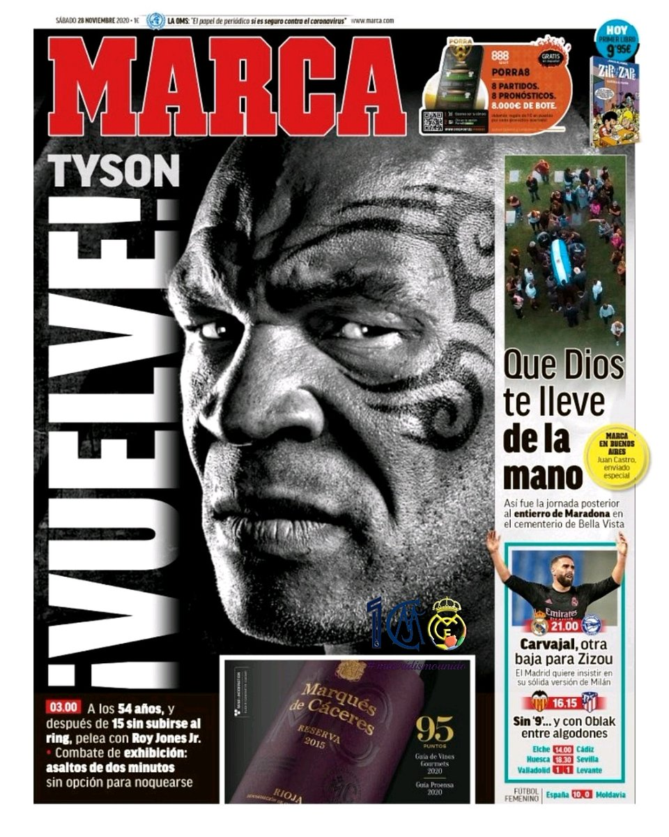 #FederaciónDePeñas #RealMadrid #madridismounido #unsiglojuntos #madridismouniversal #HalaMadrid #madridistas #laportada #28denoviembre #sábado #MARCA #Maradona #D10S #mano #Dios #Bellavista #Tyson #vuelve #RoyJonesJr #hoyjugamos #Alavés #Carvajal #baja #Valencia #Atlético #Oblak