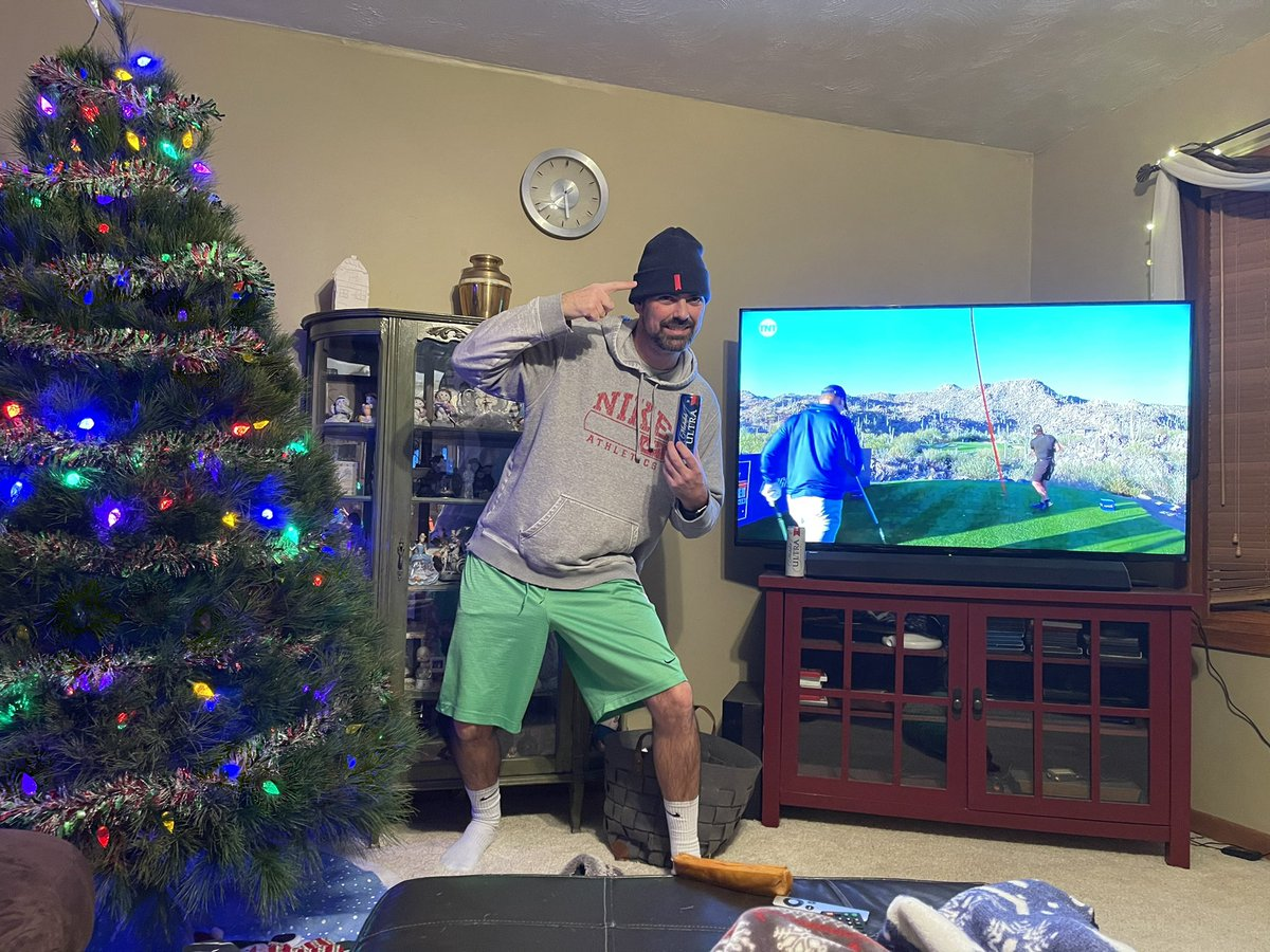 Got the tree cut down and lights on, now watching #Thematch while representing @MichelobULTRA #ULTRAGiftofGolf #Sweepstakes #teamultra #doitforthecheers