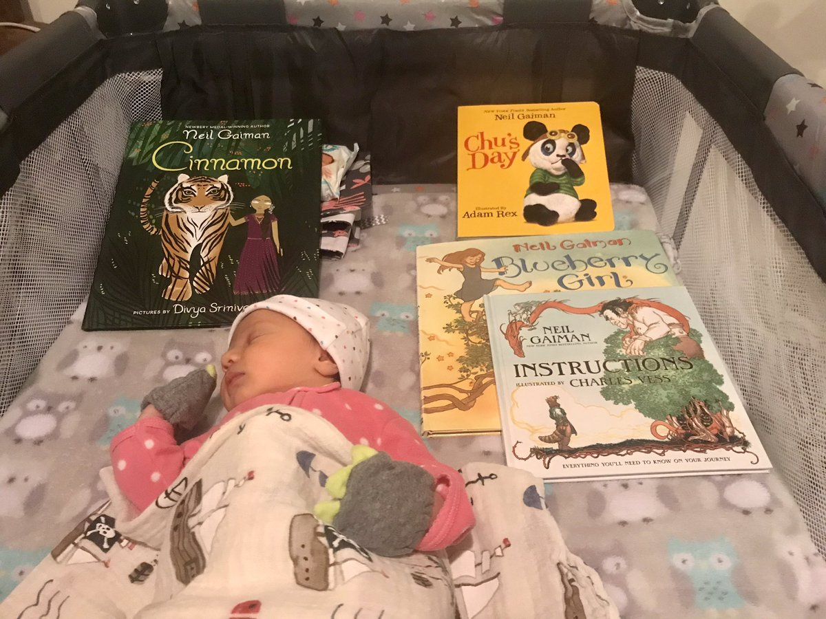 """For years I've bought @neilhimself's """"Blueberry Girl"""" as a gift whenever a friend had a daughter. A few months ago, I found myself buying a copy for my own baby.  ...our friends filled in the rest of her collection."""