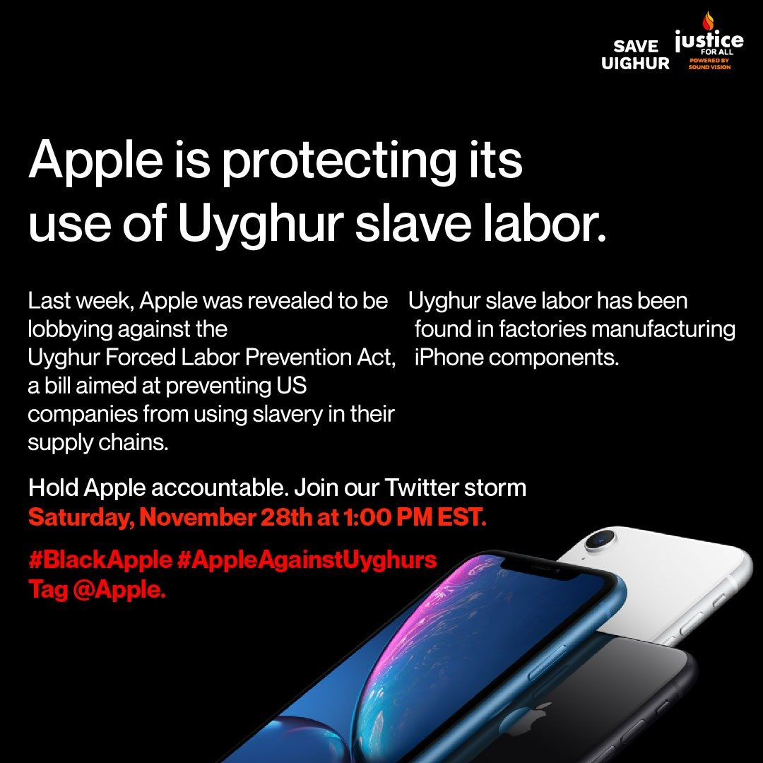 Join this twitter storm tomorrow at 1pm EST to call on @apple to stop supporting Uyghur forced labor. Just make a few tweets showing your concern with the hashtags #BlackApple and #AppleAgainstUyghurs