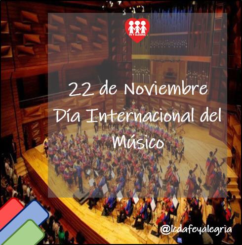 - Día Internacional del Músico 🎶 - El Día del Músico se celebra cada 22 de Noviembre, con el objetivo de homenajear a todos aquellos que de alguna u otra forma se relacionan y conocen sobre la música. https://t.co/RW75yqRcuH