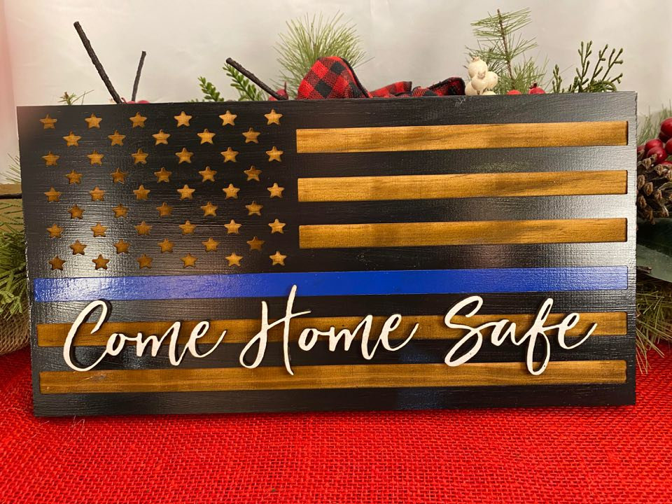 Excited to share the latest addition to my #etsy shop: Laser engraved flag with Blue Line Flag with Come Home Safe  #black #veteransday #entryway #flag #laserengraved #unitedstatedflag #lawenforcement #blueline #policeflag