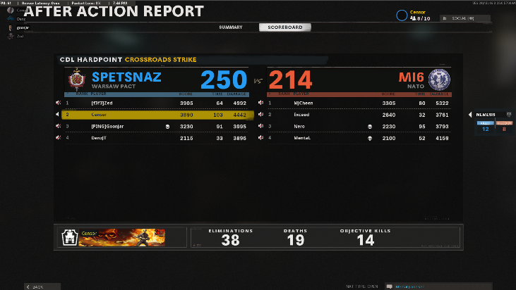 Censor - 5th time playing hardpoint - love the improvement