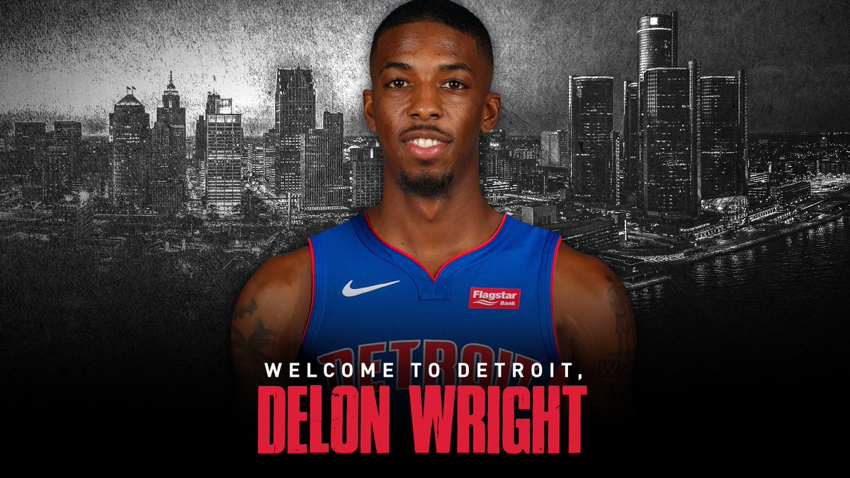 It's now 𝕠𝕗𝕗𝕚𝕔𝕚𝕒𝕝.  @delonwright is a Piston! #DetroitUp https://t.co/7YD1lxGheK