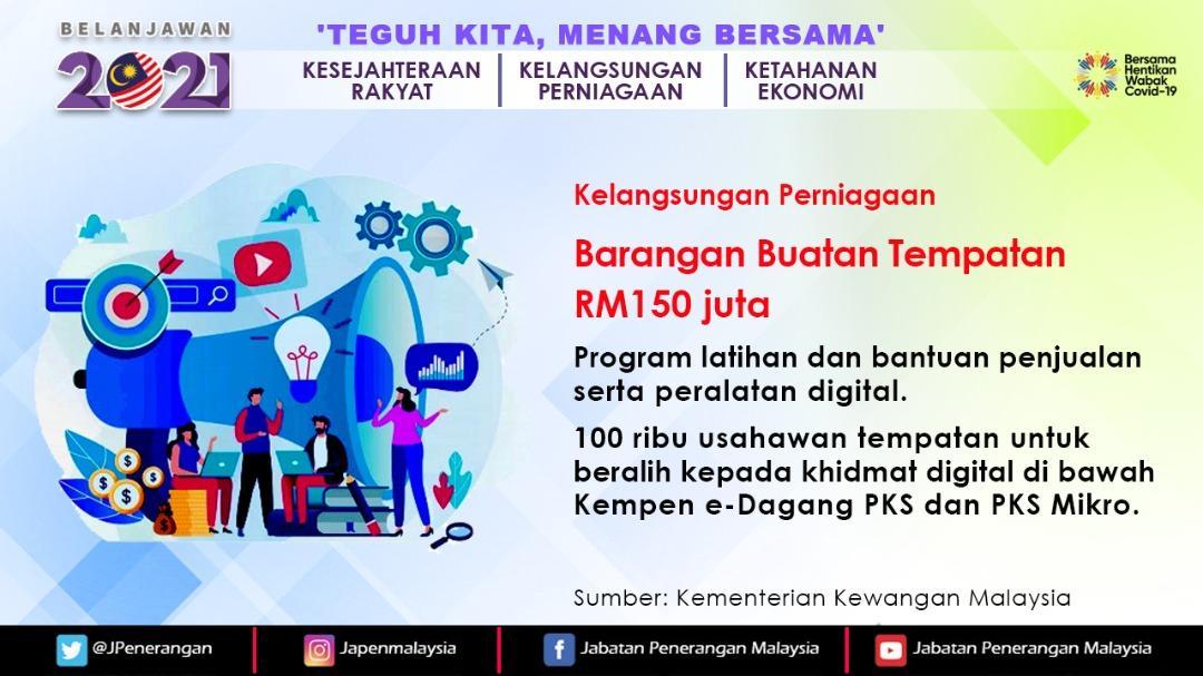 @JPenerangan RT @JPenerangan: Bagi menggalakkan penghasilan dan pembelian produk buatan tempatan, beberapa inisiatif akan dilaksanakan.  #Belanjawan2021  #Budget2021  #JabatanPenerangan #sodiakroks  https://t.co/3U1GhHeKpM