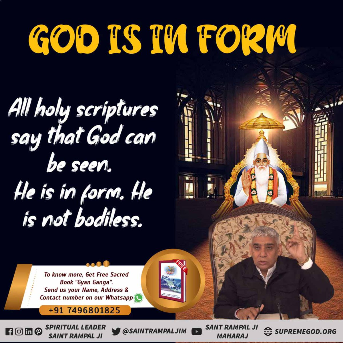 #GreatestGuru_InTheWorld God is in form All holy scripture say that God can be seen.He is in form. He is not bodiless. #MustListen_Satsang  @SaintRampalJiM  #FridayMotivation  #EliminacaoAFazenda