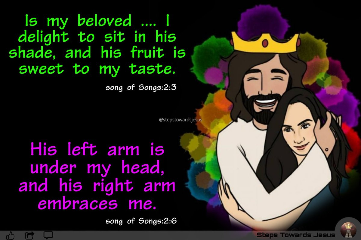 Song of Songs:2-3,6  Ismy beloved ...I sat down under his shadow with great delight, and...  #God #Godword #stepstowardsjesus #dailybibleverse #biblequotes #todayverse #Warning #blessings #motivationalquotes #morgningword #wordsoflife #lovablewords #biblewords #wordoftheday
