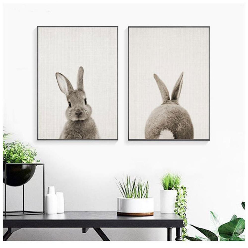 #photooftheday #smile Nordic Style Rabbit Children's Room Canvas Painting