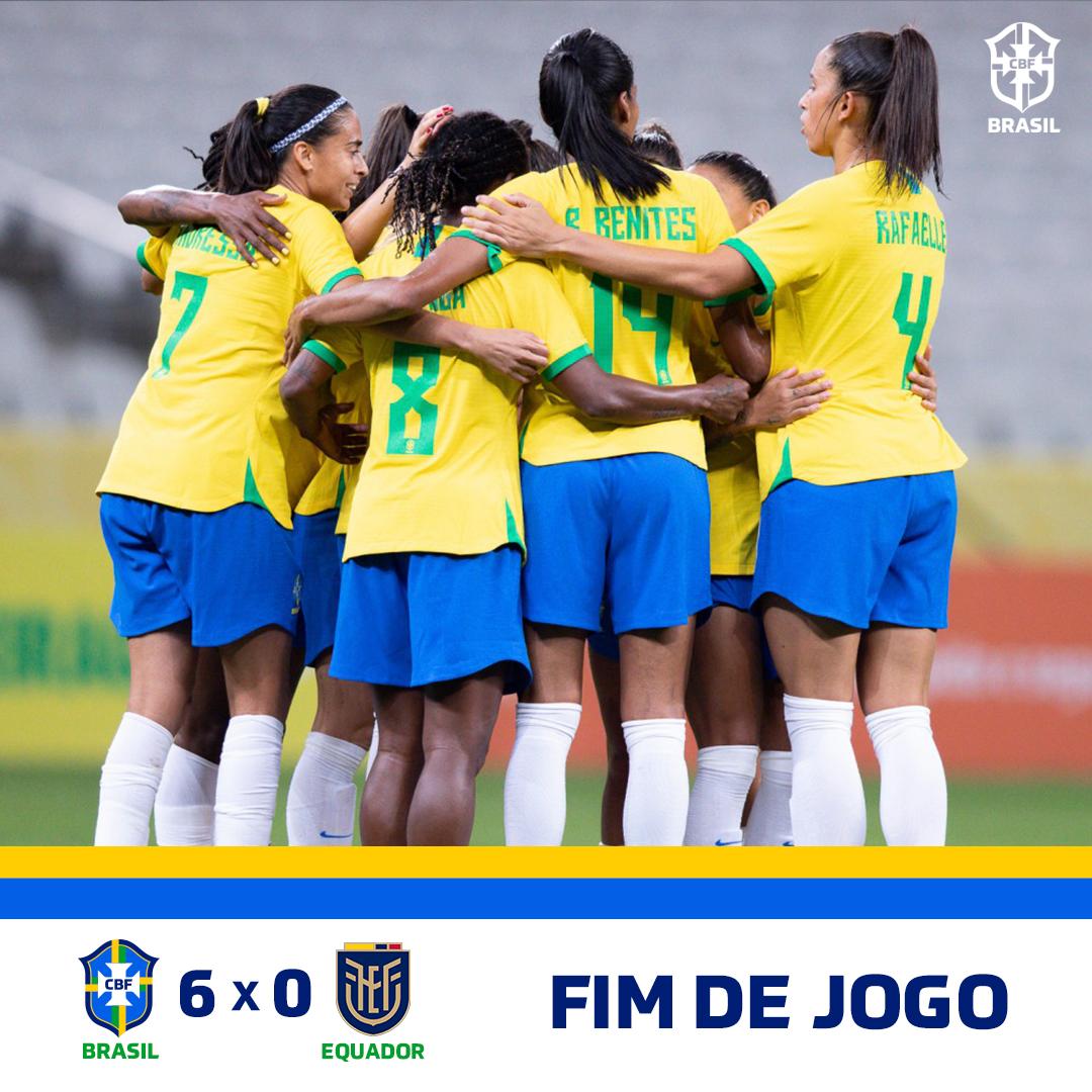 QUE VITÓRIA! #GuerreirasdoBrasil fazem cinco no segundo tempo e goleiam @LaTri por 6 a 0 na NeoQuímica Arena!  🇧🇷 6-0 🇪🇨 | #BRAxEQU