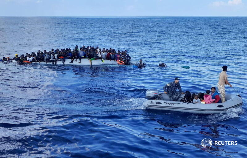 Migrants on a rubber dinghy are pictured during a rescue operation, off the coast of Libya in the Mediterranean Sea. More photos of the week: https://t.co/vjgkm2cewL https://t.co/QcH8lVqBAS