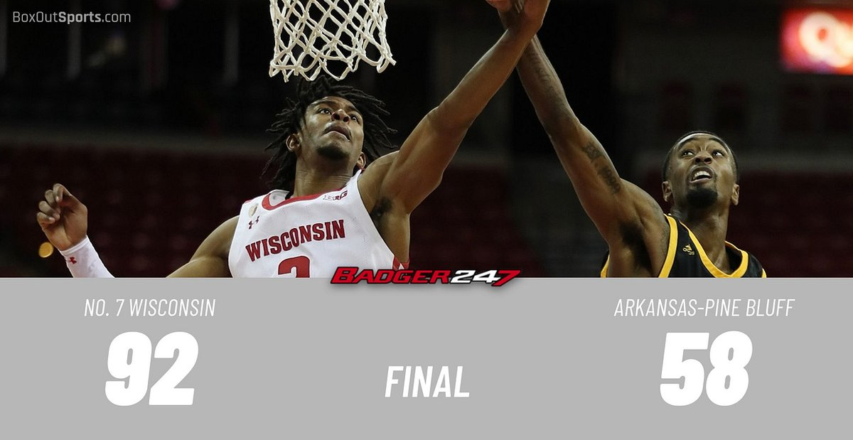 Micah Potter 19 points, 5 rebounds, 3 assists, 3 steals  D'Mitrik Trice 15 points, 3 assists   Nate Reuvers 14 points  Aleem Ford 10 points, 4 rebounds  #Badgers extend the nation's longest winning streak to 10 games.