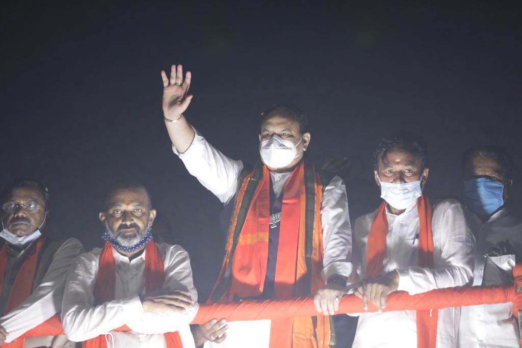 Glimpses from Honble @BJP4India President Shri @JPNadda Jis #Hyderabad visit.