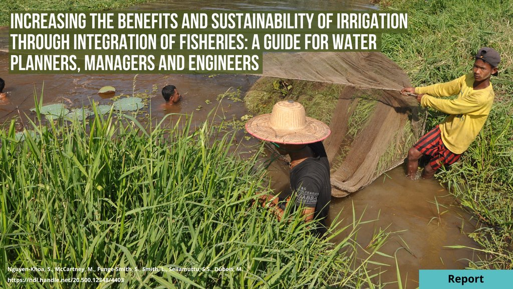 For the week of #WorldFisheriesDay, @WorldFishCenter launched new guidelines to promote a novel generation of fish-friendly #irrigation investments with partners @IWMI and @FAO.   📖 Read:    🎞️Watch:    #SmallScaleFisheries