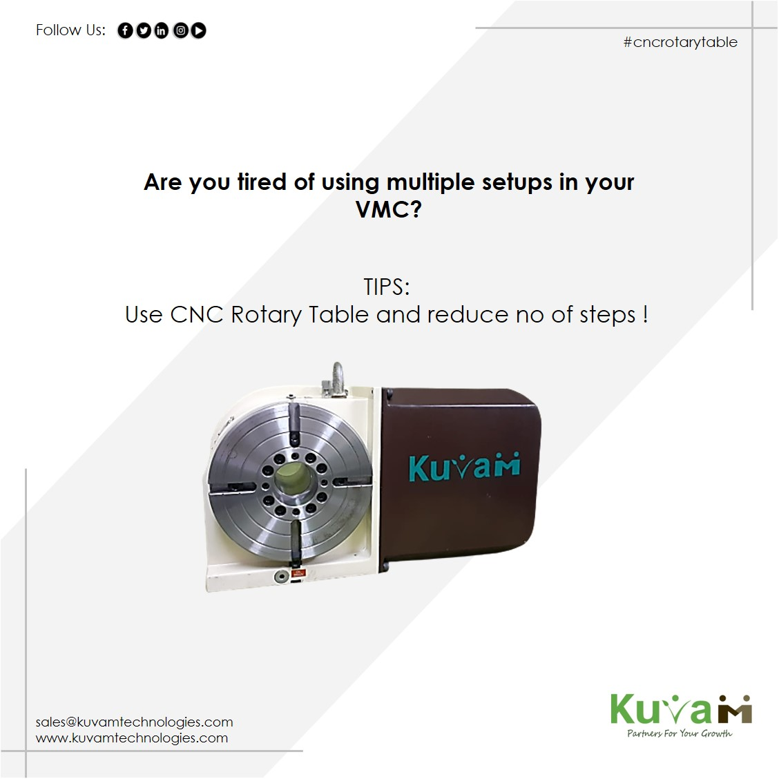 Are you tired of using multiple setups in your VMC? #kuvambrand #kuvamtechnologies #multiple #setups #vmc #hmc #rotarytable #cncrotarytable #rotary #productivity #solutions https://t.co/55mhiF0cBW