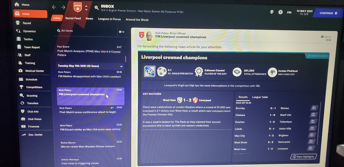 Liverpool  won premier league again! RIP 💀  At least i beat Arsenal 👍  Draw vs Burnley on a final game ending season on a whimper   Final premier league table! Leicester relegated 😳😳  #MUFC #FM21