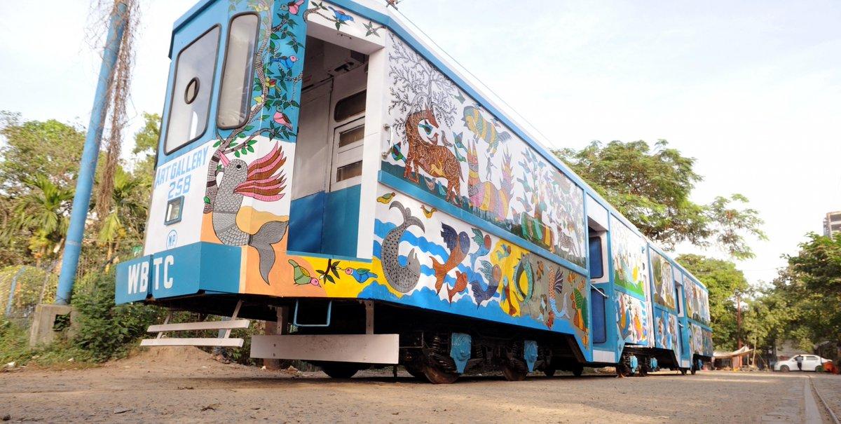 "India's first Art Gallery Tram ""Art Gallery on Wheels"" in #Kolkata.   (📸: Kuntal Chakrabarty/IANS)"