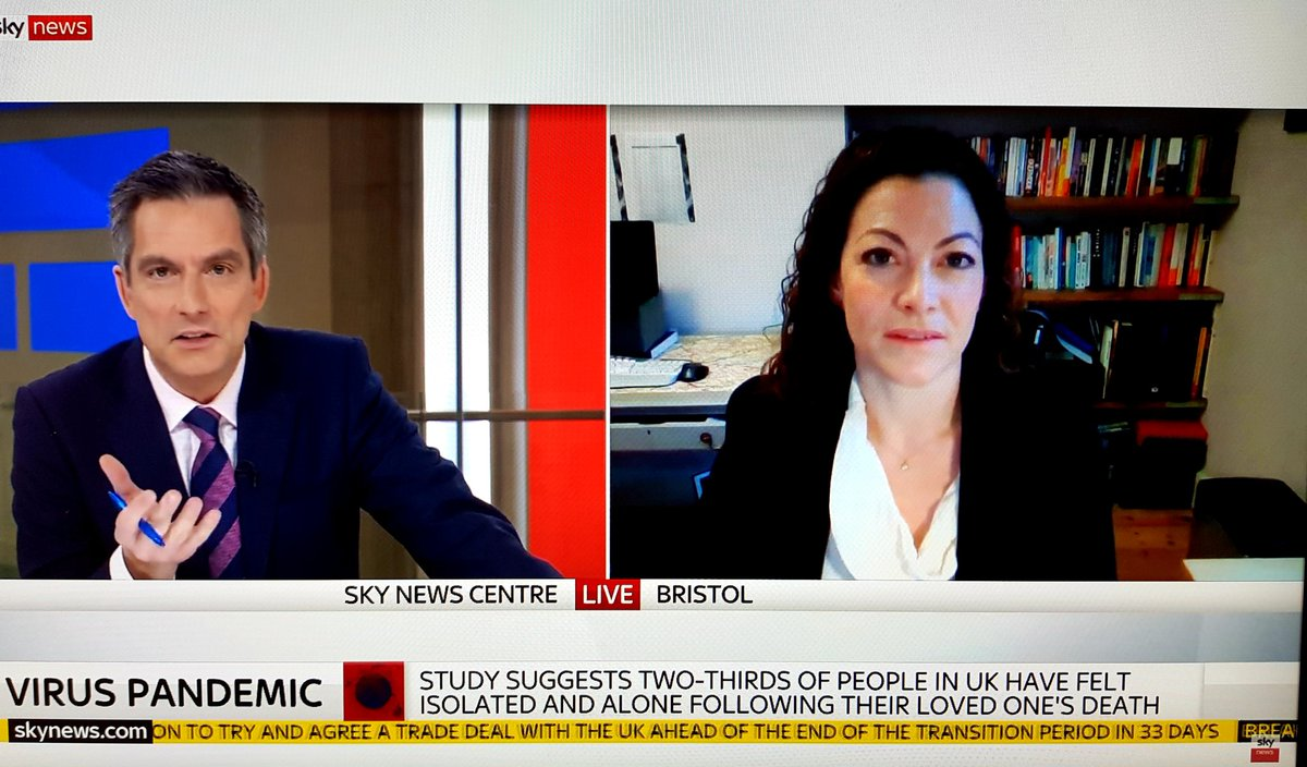 Many thanks to @SkyNews for inviting me to talk about grief during #COVID19 today and interim findings from our study of bereavement during the pandemic, co-led with @EmilyHarrop10. To participate/view the report visit . Catch up: