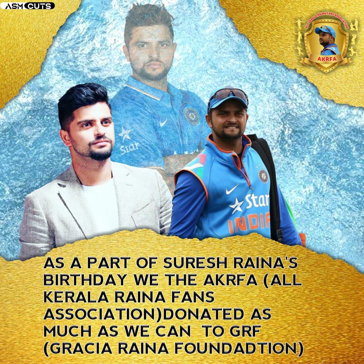 As A Part Of @ImRaina 's Birthday  All Kerala Raina Fans (@Akrfa_offl ) Donated As Much As We Can To  @grfCare (Gracia Raina Foundation)  @imRaina    #SureshRaina    #Raina  @trendRaina    @PriyankaCRaina